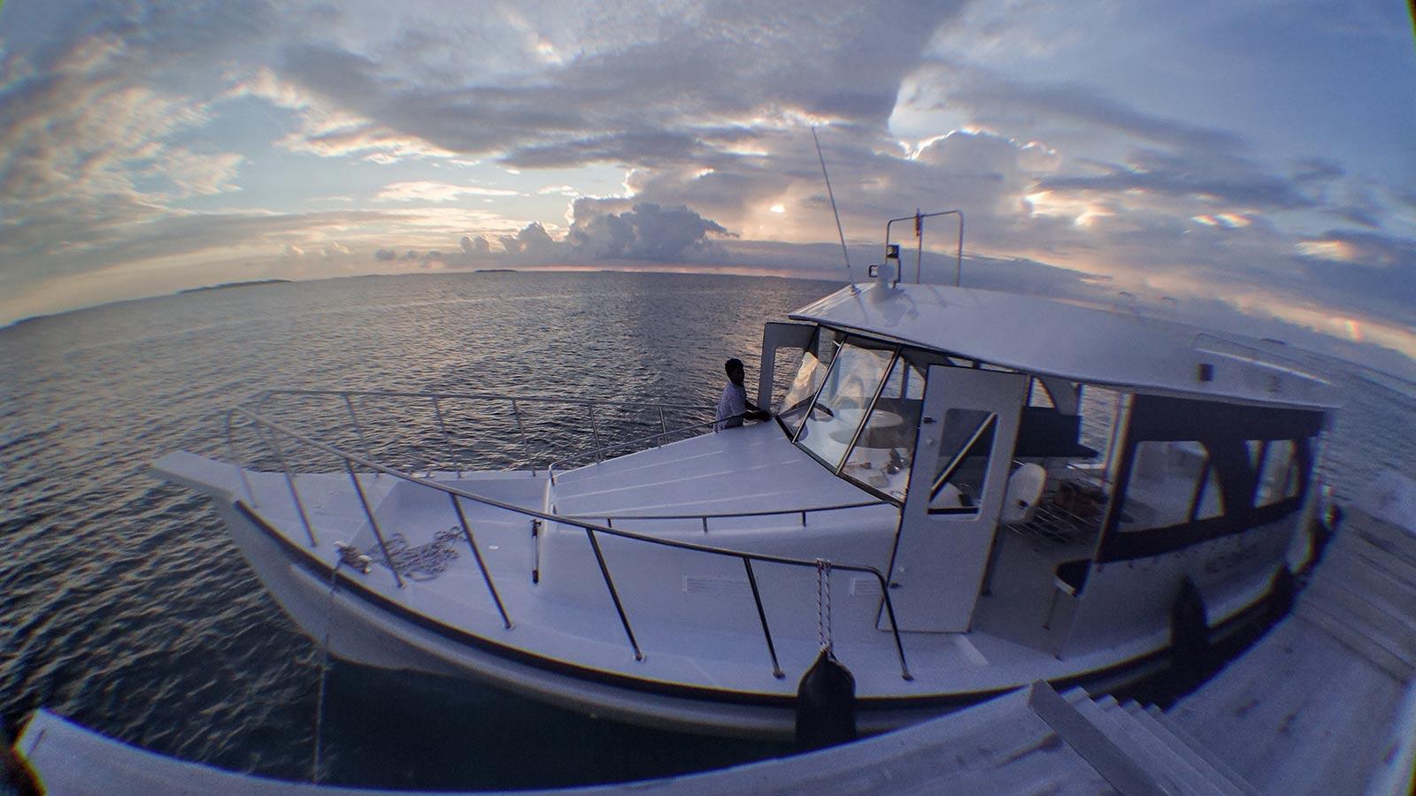 Maldives sunset boat